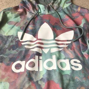 Long, oversized watercolor adidas hoodie